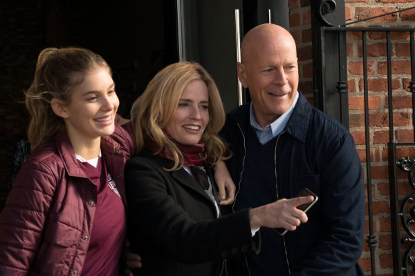 (l to r.) Camila Morrone as Jordan Kersey, Elisabeth Shue as Lucy Kersey, and Bruce Willis as Paul Kersey star in DEATH WISH, a Metro-Goldwyn-Mayer Pictures film.